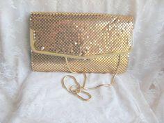 #Vintage #Gold Mesh Clutch Shoulder #Bag Hong Kong $25 free shipping http://www.rubylane.com/item/469850-153-14/Vintage-Gold-Mesh-Clutch-Shoulder