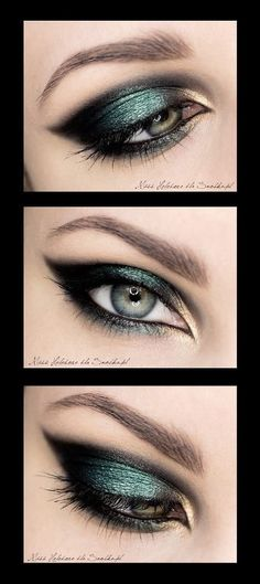 Amazing dark green and gold eyeshadow for a fancy occasion or a night out! Get the look using makeup from a Duane Reade near you.