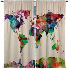 custom window curtain watercolor world map by redbeauty on etsy