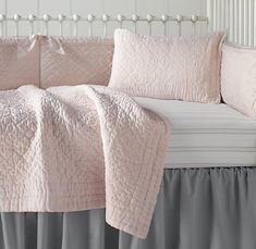 PINK - Heirloom Quilted Voile & European Heirloom Stripe Nursery Bedding Collection $226