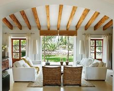 beautiful beams, bright, clean, and open to the outdoors