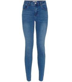 Blue Raw Trim Skinny Jeans