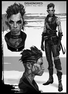 Dishonored DeadEels Gang female cyberpunk armor clothes clothing fashion player character npc | Create your own roleplaying game material w/ RPG Bard: www.rpgbard.com | Writing inspiration for Dungeons and Dragons DND D&D Pathfinder PFRPG Warhammer 40k Star Wars Shadowrun Call of Cthulhu Lord of the Rings LoTR + d20 fantasy science fiction scifi horror design | Not Trusty Sword art: click artwork for source