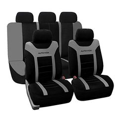 AUTOVOX Universal Car Seat Covers Grey Black Classic Cloth Sleek  Stylish Suitable for Most Cars TrucksSUV or Vans with Detachable Headrests *** ** AMAZON BEST BUY **