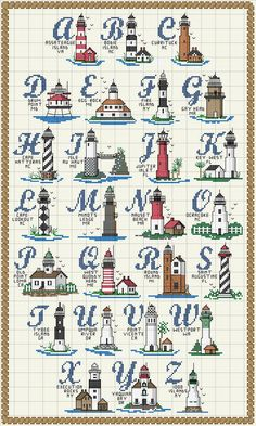 Lighthouse sampler part 1 Schema punto croce Alfabeto-fari Cross Stitch Sea, Cross Stitch Letters, Cross Stitch Samplers, Cross Stitch Charts, Cross Stitch Designs, Cross Stitching, Cross Stitch Embroidery, Embroidery Patterns, Hand Embroidery