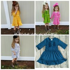 These dresses  perfect for every season, and the come in 7 different colors! Click the link in our bio to order! ❤️   Divas on a dime coop, baby girl, toddler girl, little girls, outfits, fashionista, icings, boutique outfit, headbands, leggings, holiday, fall, autumn, winter, ruffles, dress