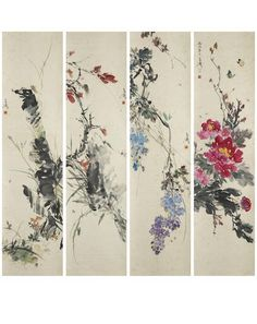 Wang Xuetao (1903-1982) Flowers and Insects Ink and colour on paper, a set of four hanging scrolls Each inscribed and signed Xuetao, with one seal of the artist One dated bingxu year (1946) 137.5cm x 34.5cm (54¼in x 13½in) each. (4).  王雪濤 花卉草蟲 設色紙本 立軸四幅 一九四六年作  (一) 款識:丙戌(1946)春月,雪濤寫。 鈐印:老雪 (二) 款識:雪濤。 鈐印:老雪 (三) 款識:雪濤。 鈐印:老雪 (四) 款識:雪濤。 鈐印:老雪