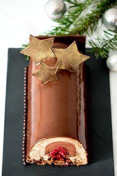 Recette de la bûche chocolat et framboise