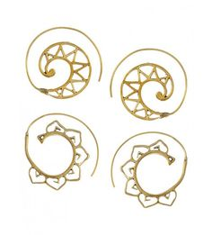 Classy Spiral Triangle Gold Tone Brass Earrings - Set Of 2 Pairs