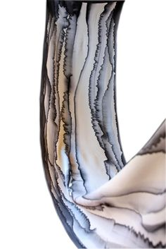 "Image of ""Black line"" hand-painted silk scarf by Asta Masiulyte 32 x 162cm $125"