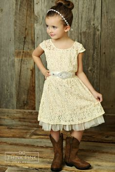 Boutique Lace and Tulle Dress Champagne W/ Rhinestone Sash - Think Pink Bows - 1 Flower Girl Dresses Country, Tulle Flower Girl, Wedding Flower Girl Dresses, Little Girl Dresses, Girls Dresses, Tulle Dress, Lace Dress, Pageant Dresses, Birthday Dresses