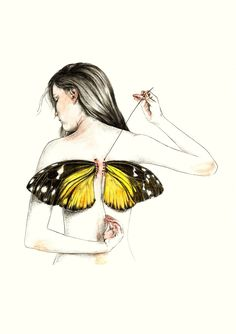 Kai Fine Art is an art website, shows painting and illustration works all over the world. Art Papillon, Art Watercolor, Butterfly Drawing, Butterfly Wings, Butterfly Artwork, Dark Art, Drawing Sketches, Pencil Drawings, Cool Art Drawings
