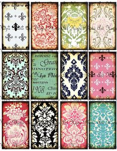 French Damask Backgrounds 2x3.5 Hang Tags - ATC ACEO greeting cards paper supplies - U Print 300dpi jpg sh180. $3.98, via Etsy.