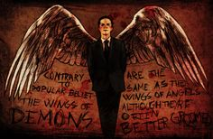 Moriarty, on the side of the demons. Quote is from 'Good Omens' by Neil Gaiman. Pencil, coloured in photoshop