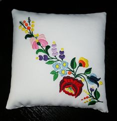 Hungarian Folk Motif Kalocsa patterned Unique Special Artisan Handmade Embroidery Ring Pillow