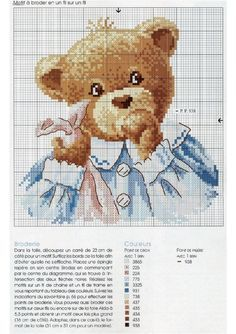 Points de croix *@* Ours Cross Stitch For Kids, Cross Stitch Boards, Cross Stitch Art, Cross Stitch Animals, Cross Stitch Designs, Cross Stitching, Cross Stitch Embroidery, Cross Stitch Patterns, Brother Innovis