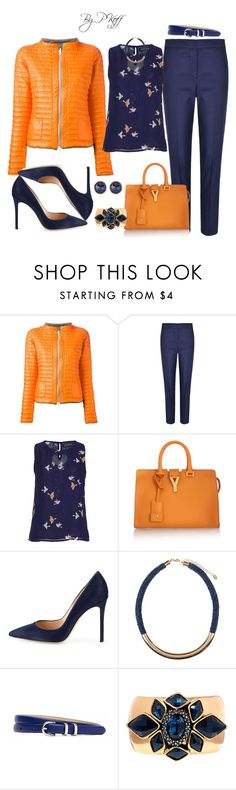 """""""Navy & Orange!"""" by pkoff ❤ liked on Polyvore featuring Duvetica, Paul Smith, Yves Saint Laurent, Gianvito Rossi, Accessorize, Brooks Brothers, Oscar de la Renta and Susan Caplan Vintage"""