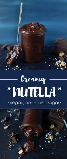 A healthier alternative to Nutella you must try this creamy vegan Nutella with only a bunch of ingredients made in less than 10 minutes. Brownie Desserts, Oreo Dessert, Mini Desserts, Coconut Dessert, Nutella Recipes, Vegan Dessert Recipes, Raw Food Recipes, Dip Recipes, Free Recipes