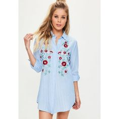 Missguided Petite  Pinstripe Embroidered Shirt Dress ($56) ❤ liked on Polyvore featuring dresses, blue, flower embroidered dress, button front dress, blue shirt dress, shirt dress and blue pinup dress