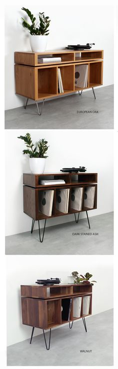 Kelston Record Player Cabinet on Hairpin legs - Our Kelston record player stand / sideboard in three sizes, three wood types, and more custom optio - Vinyl Record Cabinet, Record Player Cabinet, Record Player Stand, Vinyl Record Storage, Furniture Inspiration, Interior Inspiration, Wood Types, Vinyl Record Collection, Cabinet Shelving