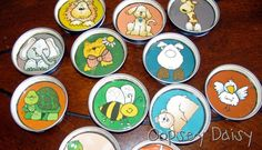empty baby jar uses - lids for a matching game