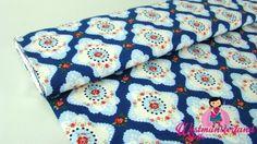 1mtr Baumwolle Popeline Stoff Patchwork Muster auf Dunkel BLAU Q98