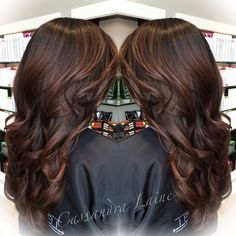 Soft hand-painted mahogany highlights on a deep brunette base, perfect for fall! Mahogany Highlights, Mahogany Brown Hair, Dark Hair With Highlights, Brunette Highlights, Brunette Color, Highlights For Brunettes, Black Cherry Hair, Brunette Makeup, Hair Shades
