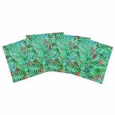 "Fernanda Sternieri ""African Romance In Green"" Green Floral Indoor/Outdoor Place Mat (Set of 4)"