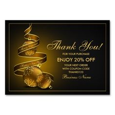 Holiday Business Appreciation Christmas Thank You Postcard - Thank you for your business card template