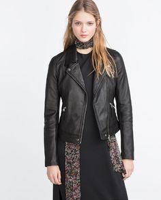 Image 1 of LEATHER BIKER JACKET from Zara