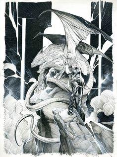 Le grand dragon et la sentinelle par Alberto Varanda - oeuvre originale