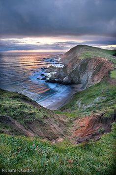 The California Coast. A beautiful view of the Pacific Ocean and the beautiful land surrouding it.