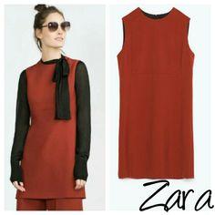 Zara A-Line top small tunic burnt orange S New w tags Zara Tops