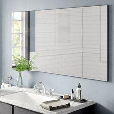 Orren Ellis Haubert Modern & Contemporary Beveled Bathroom/Vanity Mirror Size: H x W Bathroom Vanity Tops, Grey Bathrooms, Bathroom Faucets, Sinks, Mirror Bathroom, Modern Contemporary Bathrooms, Modern Bathroom, Small Bathroom, Master Bathroom