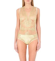 Gold lace bodysuit. Could anything be more elegant? Available at #Selfridges #luxury #lingerie #lingerieasouterwear #datenight
