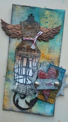 The Scrap Yard design for Grungy Monday- Feb 2012.  Note to self open up the grungeboard elements and start dry embossing.  Love the background on this tag.