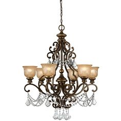 """This traditional 6-light Norwalk chandelier is great for a home that wants to showcase a beautiful and luxurious chandelier. Features 72' of chain and 120' of wire. The bronze umber finish and amber etched glass is gorgeous. 32""""H x 28""""W $582.99 and ships free."""