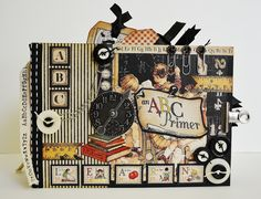 Graphic 45 ABC Primer Mini Album, Scrapbook Album | The Happy Yellow Trading Co. Love all these pages!