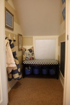 A small coat closet was transformed into a mini mudroom and clubhouse for the... entry way idea.