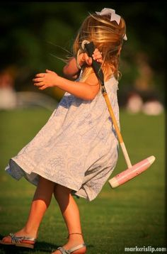 This will be my daughter! Gorgeous little girl with pink polo mallet - horse polo photography by Mark Crislip - http://www.pitchblackpolo.com/