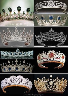 Second from top on left: The Girls of Great Britain and Ireland Tiara. Third from top on right: The Burmese Ruby Tiara Royal Crown Jewels, Royal Crowns, Royal Tiaras, Royal Jewelry, Tiaras And Crowns, Fine Jewelry, British Crown Jewels, Circlet, Diamond Are A Girls Best Friend
