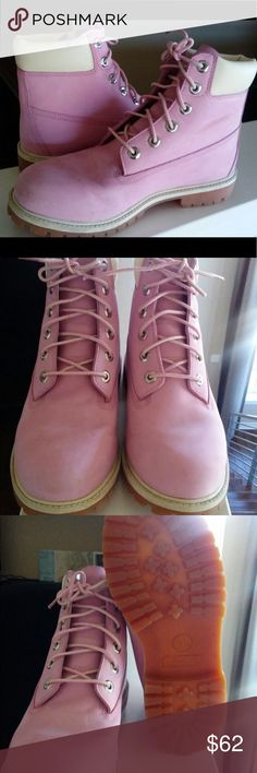 Bubblegum Pink Timberland Boots Cute pink timberland boots. Great condition! See photos. Timberland Shoes Lace Up Boots