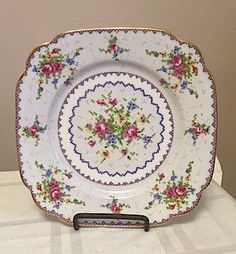 Royal Albert Bone China, Bread Plate 7.75 in x 7.75 in.  PETIT POINT pattern,  Vintage by Cachebuster on Etsy