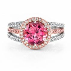Omi Gems: Pink Tourmaline and Diamond Ring -- absolutely stunning!