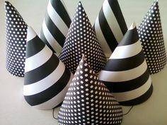 BLACK & WHITE Party Hats (Set of 6) --  Polka Dot and Stripes
