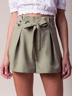 Green High Waist Eyelet Tie Waist Shorts