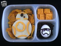 BB-8 droid sandwich and First Order Stormtrooper egg