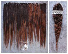 Wool Dreadlocks, woolen dark brown, long dreads, felted, handmade dreads 35DE