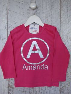 """Mi Emporium - Girls Customised """"Letter + Name"""" Long Sleeves Tee-shirt Long Sleeve And Shorts, Long Sleeve Tee Shirts, Size 00, Personalized Baby, Organic Cotton, Graphic Sweatshirt, Rompers, Names, Lettering"""