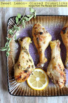 Sweet Lemon Glazed Drumsticks - RecipeGirl.com~T~ A delicious and simple marinade of lemon juice, Dijon mustard, olive oil, fresh oregano or thyme ( I like rosemary too), honey, apple cider vinegar, lemon zest, brown sugar, garlic salt and fresh ground black pepper. Yum